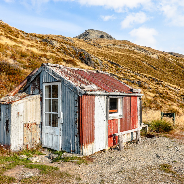 """Heather Jock Hut, Whakaari Conservation Area"" stock image"