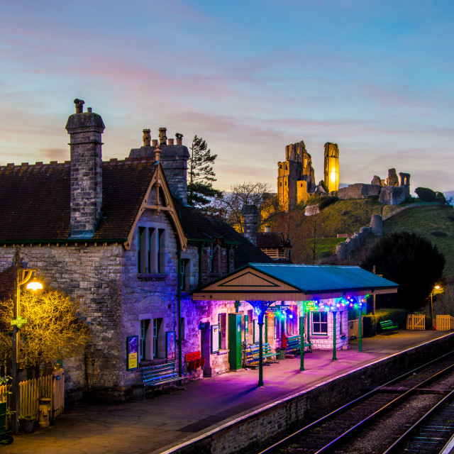 """Night at Corfe Castle Station"" stock image"