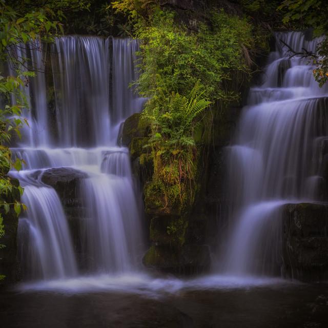 """Penllergare waterfall on the Afon Llan river"" stock image"