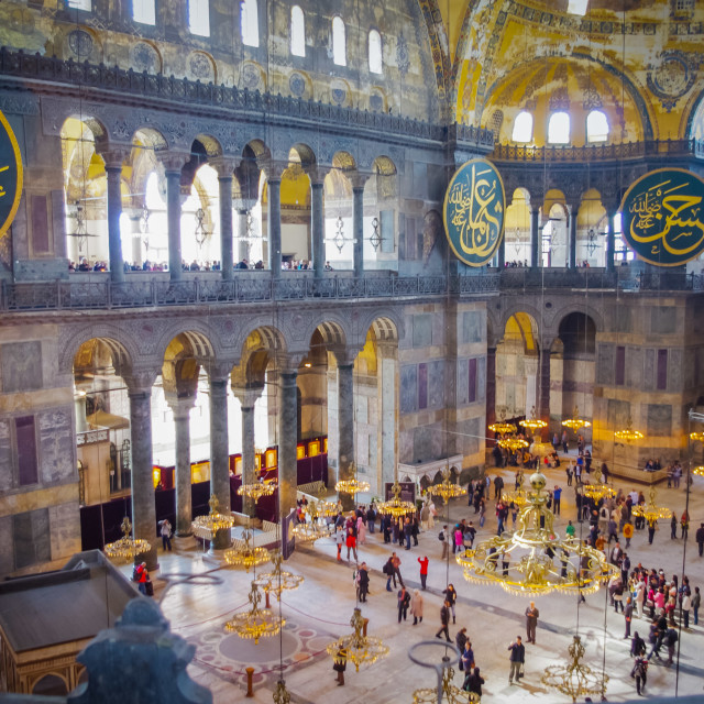 """Inside the interior of the Hagia Sophia mosque in the centre of Istanbul"" stock image"