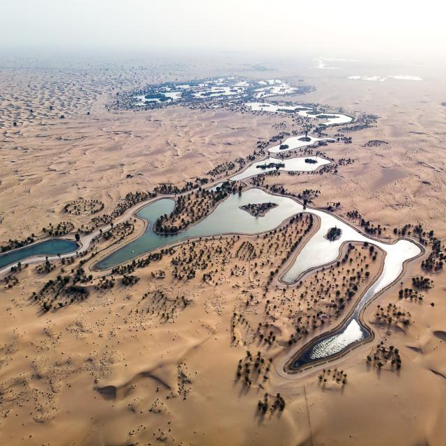 """Al Qudra lakes in Dubai desert aerial view"" stock image"