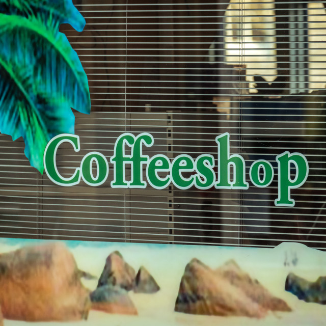"""""""Coffeshop window and sign in a dutch shopping street"""" stock image"""