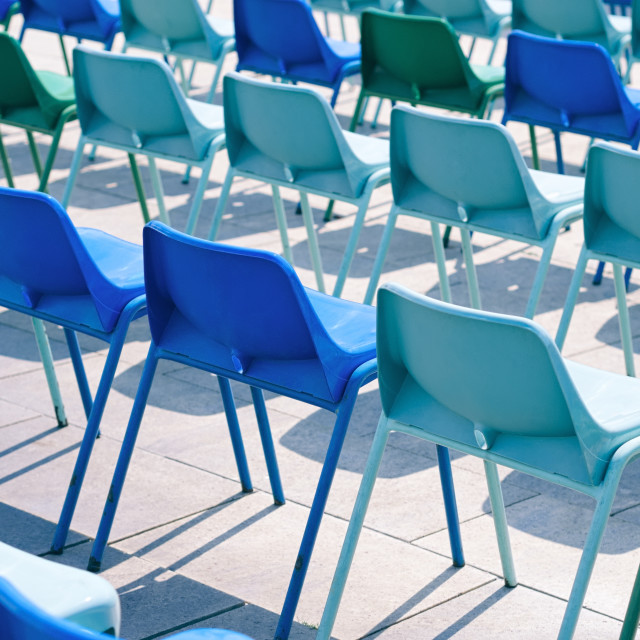 """""""Blue Plastic Chairs"""" stock image"""