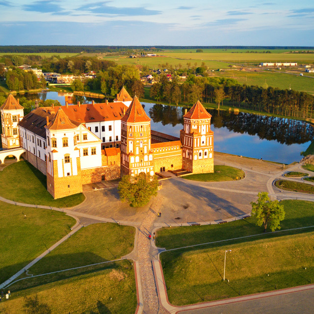 """""""Aerial view of Medieval Mir castle complex"""" stock image"""