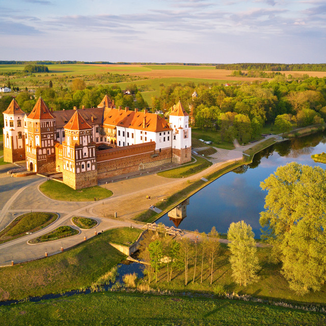"""""""Aerial view of Medieval Mir castle complex at spring sunset. UNE"""" stock image"""