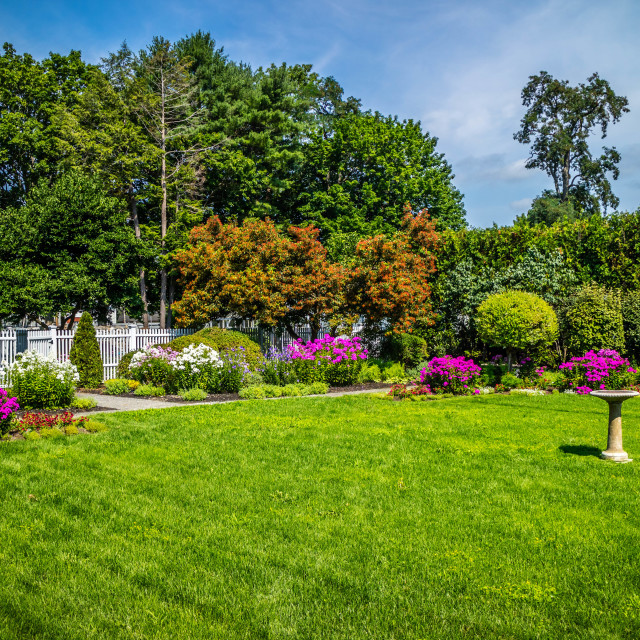 """The inside grounds of the garden in Blaine House at Augusta street"" stock image"