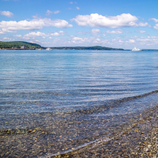 """A spectacular view of a bay in Bar Harbor, Maine"" stock image"