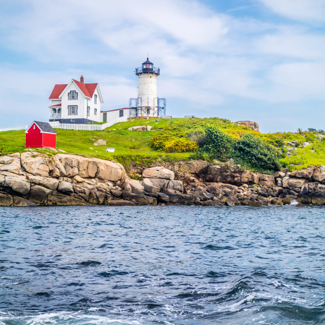 """A well known Cape Neddick Light in York, Maine"" stock image"