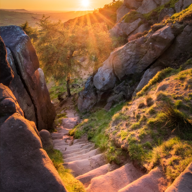 """""""Sunset on the steps at The Roaches"""" stock image"""