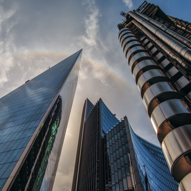 """Lloyds Building and Rainbow London"" stock image"