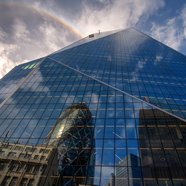 """London Financial District Rainbow"" stock image"