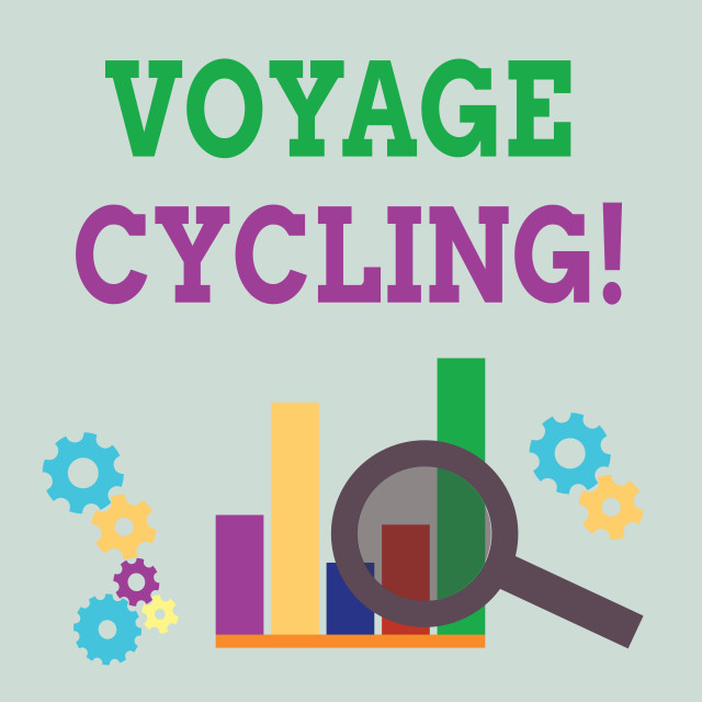 """""""Word writing text Voyage Cycling. Business concept for Use of bicycles for..."""" stock image"""