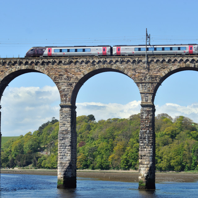 """Train crosses the river Tweed"" stock image"