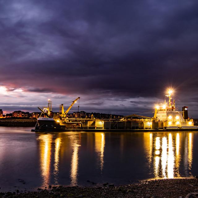 """TSHD Sospan Dau, Sovereign Harbour Eastbourne"" stock image"
