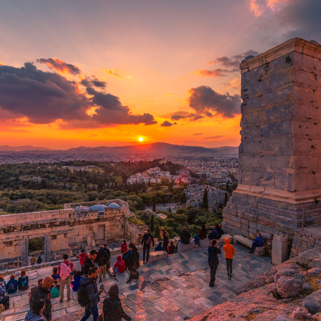"""Sunset view from Acropolis, Athens"" stock image"