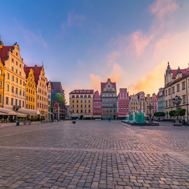 """Sunrise in the old town square in Wroclaw"" stock image"