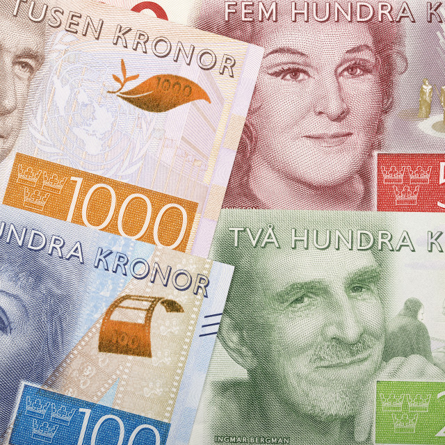 """Swedish money, a background"" stock image"
