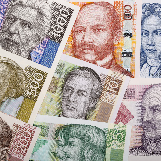 """Full set of Croatian money, a background"" stock image"