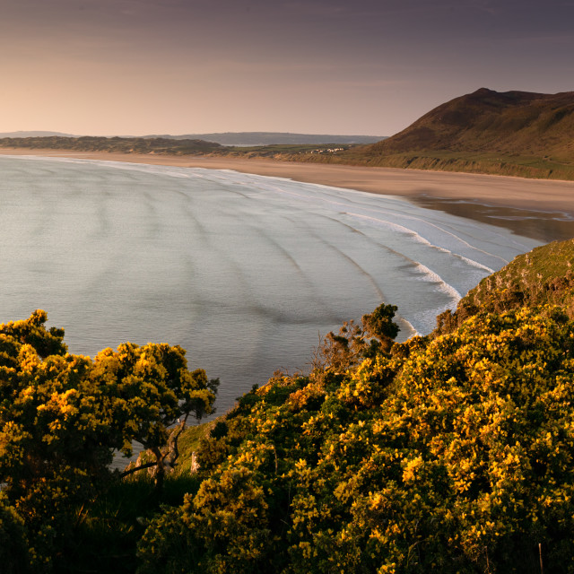 """Rhosilli Bay, Sunset"" stock image"