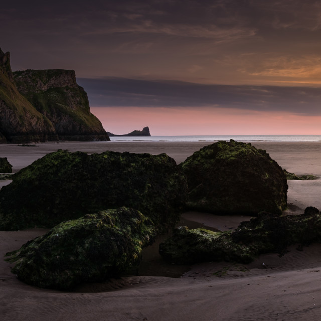 """Blue hour on Rhossili Bay, Gower Peninsula"" stock image"