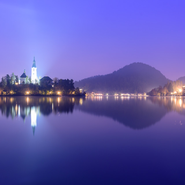 """Lake Bled with island and church at dawn."" stock image"