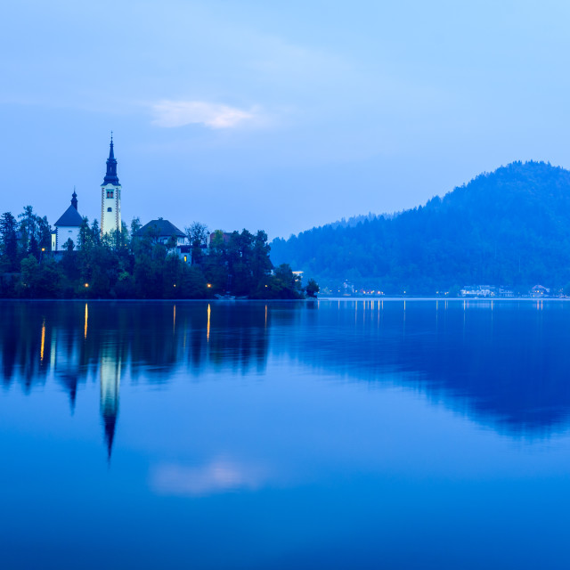"""Lake Bled with island and church at dawn"" stock image"