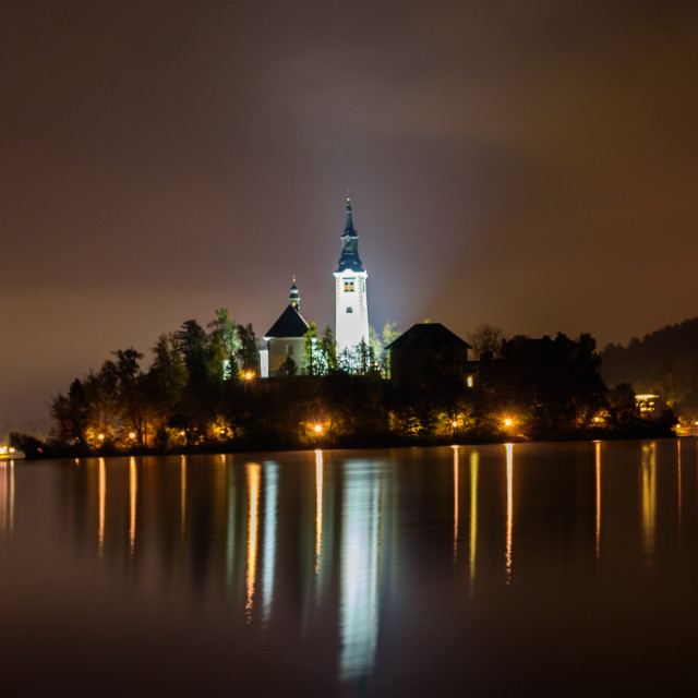 """""""Lake Bled with island and church at night"""" stock image"""