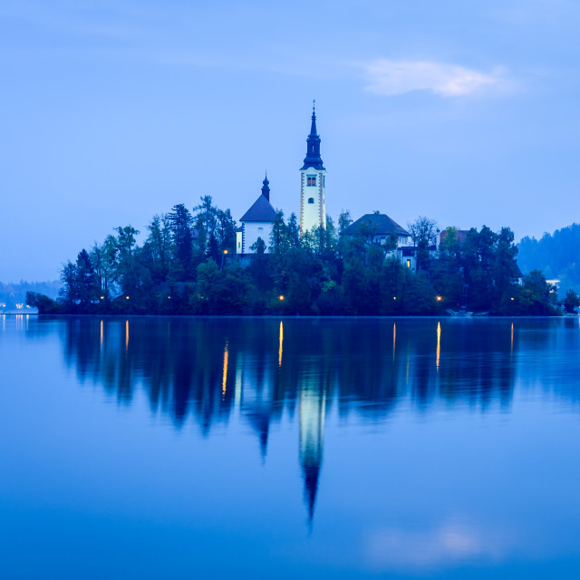"""""""Lake Bled with island and church at dawn"""" stock image"""