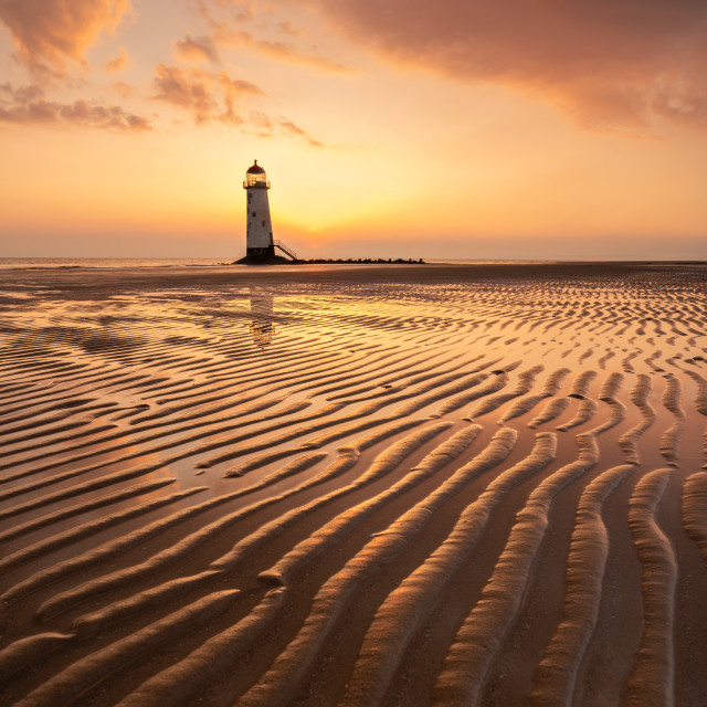 """Golden sunrise Talacre"" stock image"