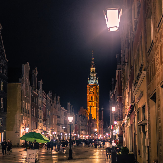 """Gdansk at night"" stock image"