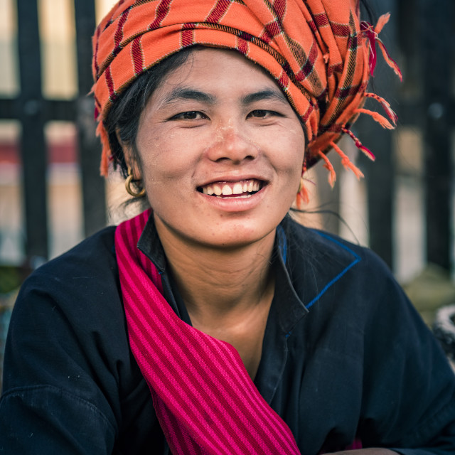 """Portrait of Pa-O woman at Ywama Market, Inle Lake, Shan State, Myanmar (Burma)"" stock image"