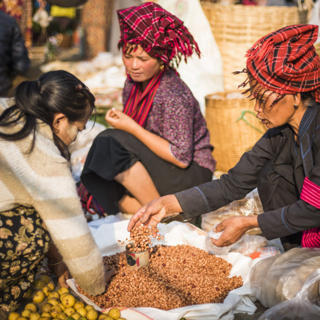"""""""Market stall owned by Pa-O tribe, Ywama Market, Inle Lake, Shan State,..."""" stock image"""