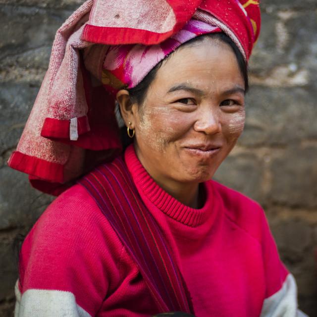 """""""Portrait taken at Pindaya food market, Shan State, Myanmar (Burma)"""" stock image"""