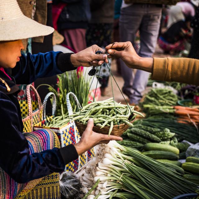 """""""Pindaya food market, Shan State, Myanmar (Burma)"""" stock image"""