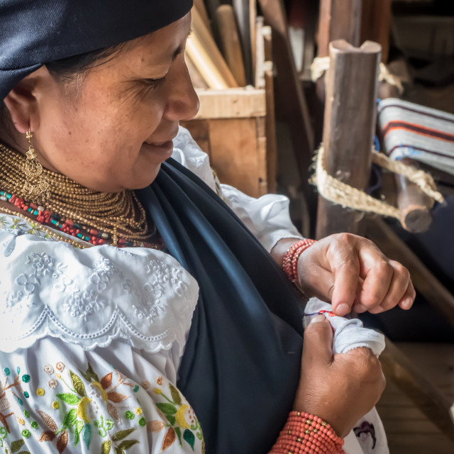 """""""Indiginous woman doing traditional embrodery, Otavalo, Ecuador, South America"""" stock image"""