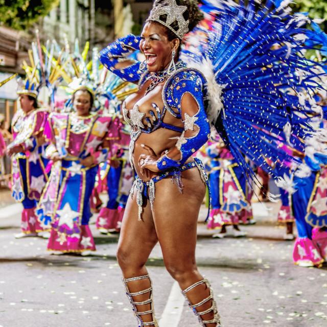 """Samba Dancer at the Carnival Parade in Niteroi, State of Rio de Janeiro, Brazil"" stock image"