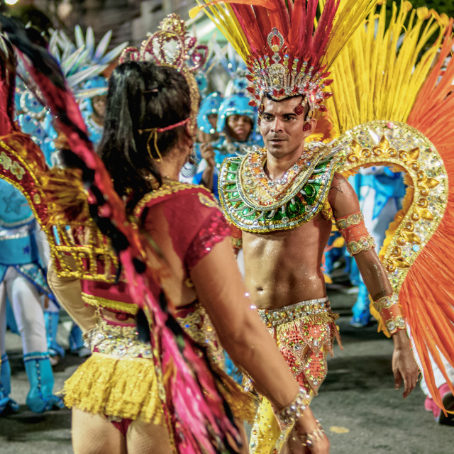 """Samba Dancers at the Carnival Parade in Niteroi, State of Rio de Janeiro, Brazil"" stock image"