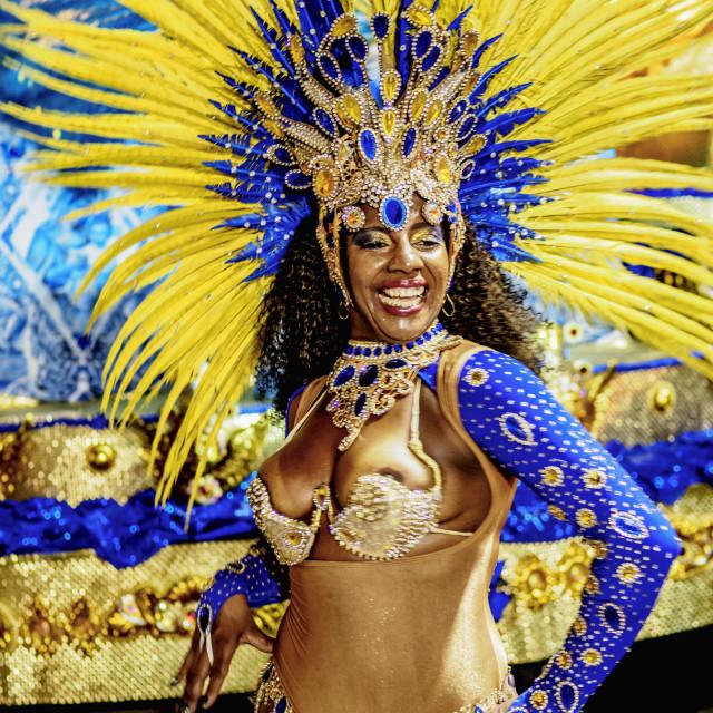 """""""Samba Dancer at the Carnival Parade in Rio de Janeiro, Brazil"""" stock image"""