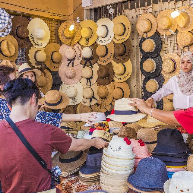 """""""A market stall selling hats in Phuket Old Town, Phuket, Thailand, Southeast..."""" stock image"""