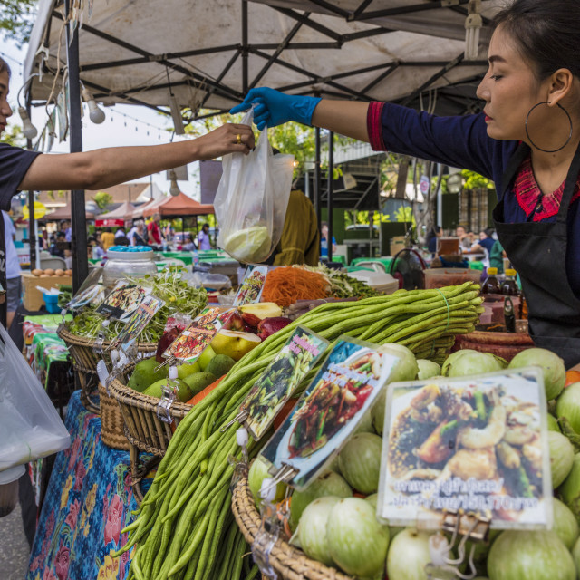 """""""A vegetarian stall at the Indy market in Phuket old town, Phuket, Thailand,..."""" stock image"""