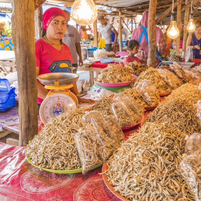 """""""Dried fish for sale at the local market in Ao Nang, Krabi Province, Thailand,..."""" stock image"""