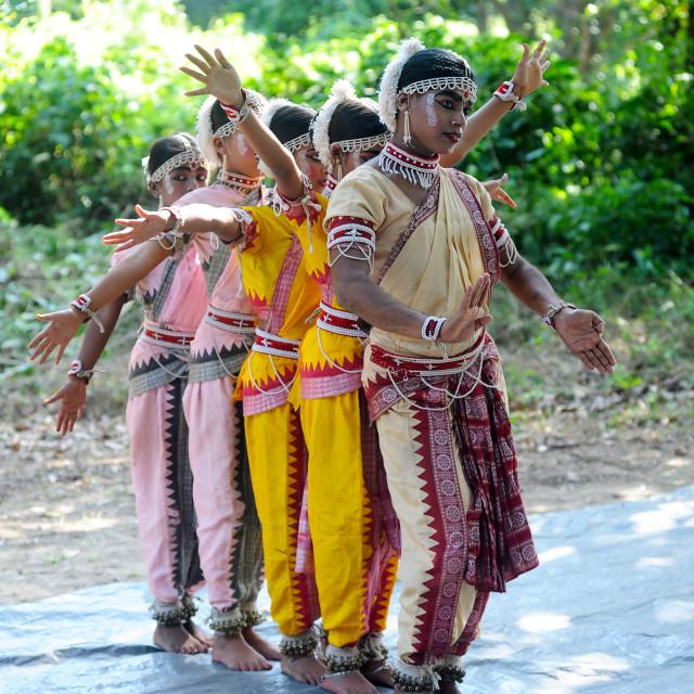 """Gotipua dancers in costume, performing traditional Gotipua dance in rural..."" stock image"