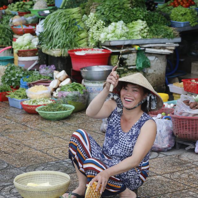 """Traditional market vegetables shop. Ha Tien. Vietnam."" stock image"