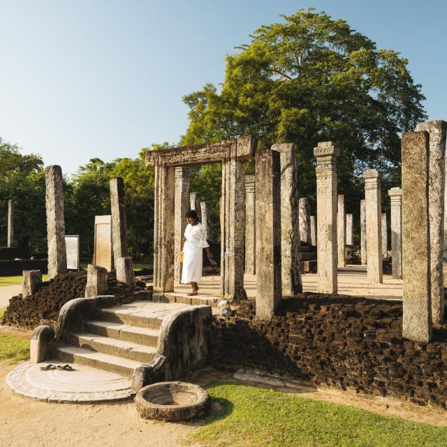 """Recumbent House, Polonnaruwa, North Central Province, Sri Lanka, Asia"" stock image"