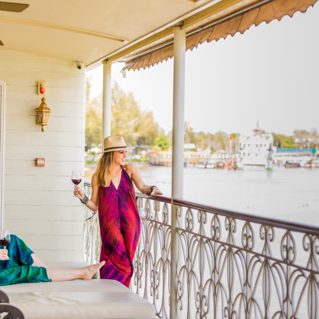 """American women tourists aboard the Mekong Princess, as it sails down the..."" stock image"