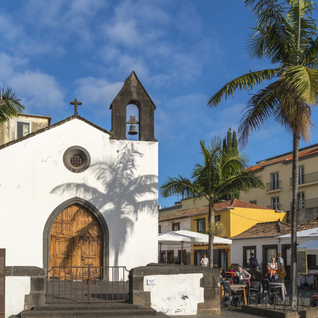 """The facade of Corpo Santo Chapel in the Old Town. Funchal, Madeira region,..."" stock image"
