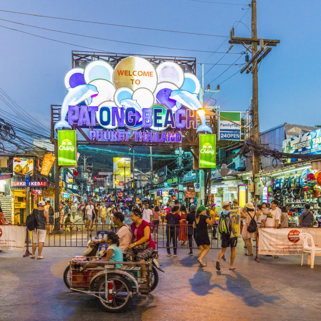 """The neon sign at Patong beach at night in Patong, Phuket, Thailand, Southeast..."" stock image"