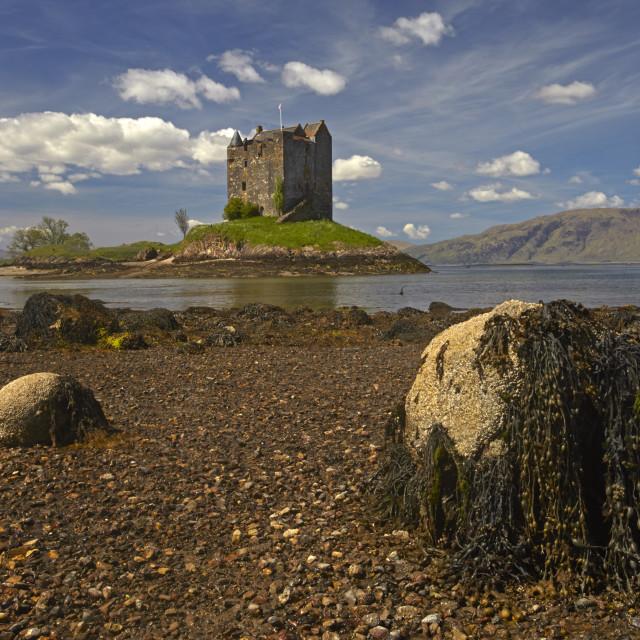 """Castle Stalker on Loch Linnhe, Port Appin, Argyll, Scotland, United Kingdom,..."" stock image"