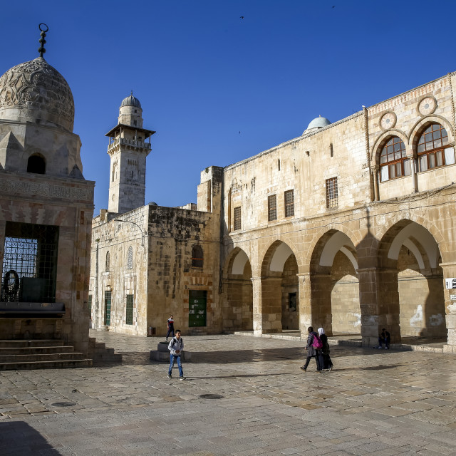 """Shrines on the Haram esh-Sharif (Al Aqsa compound, Temple Mount), Jerusalem,..."" stock image"
