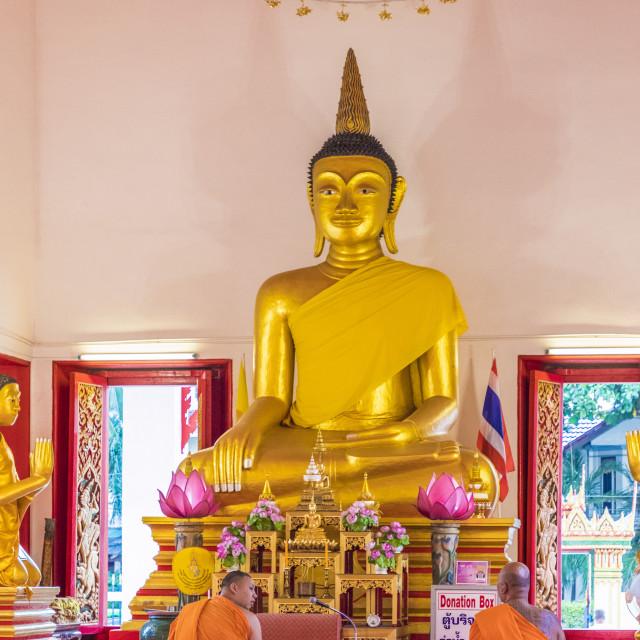 """""""Monks in Mongkol Nimit temple (Wat) in Phuket old town, Phuket, Thailand,..."""" stock image"""
